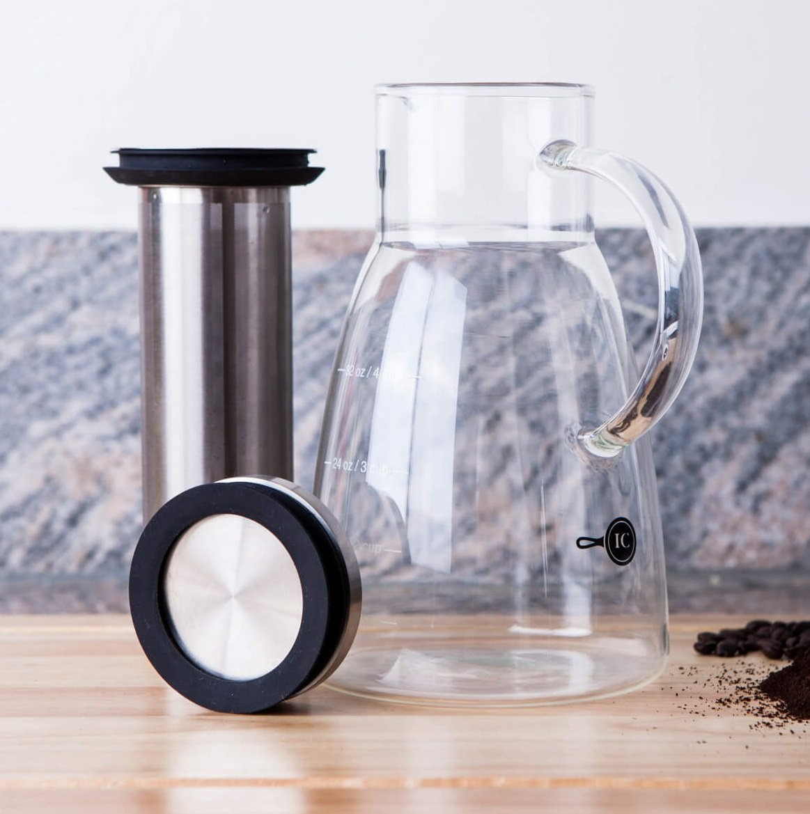 Cold Brew Coffee Maker & Tea Infuser Pot by Integrity Chef - 5 Cup Pitcher, Premium Food Grade Quality Stainless Steel & Glass Carafe, Perfect Gift, SAVE A LIFE!