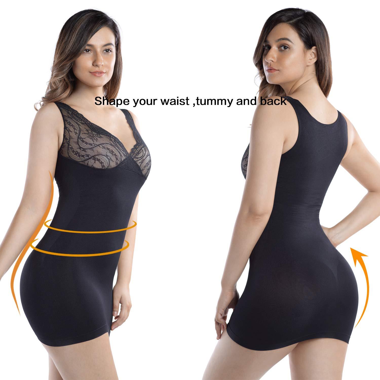 +MD Womens Full Body Shapewear Firm Control Seamless Slip V Neck Lace Tummy Control Slip Under Dresses
