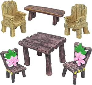 Trasfit 6 Pieces Miniature Table and Chairs Set, Fairy Garden Furniture Ornaments Kit for Dollhouse Accessories, Home Micro Landscape Decoration (Style C with Flower)