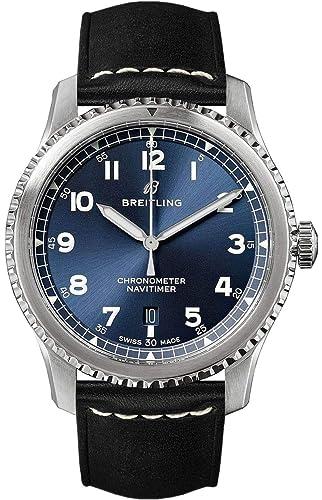 Breitling Navitimer 8 Automatic 41 Reloj para Hombre con Esfera Azul y Correa de Piel Negra