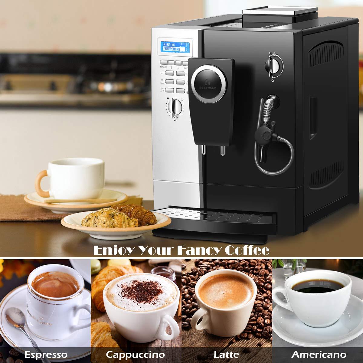 COSTWAY Machine /à Caf/é Automatique,Caf/éti/ère Automatique 1200W en Acier Inoxydable,19 Bar avec Mode 2 Tasses pour Maison,Bureau,Caf/é