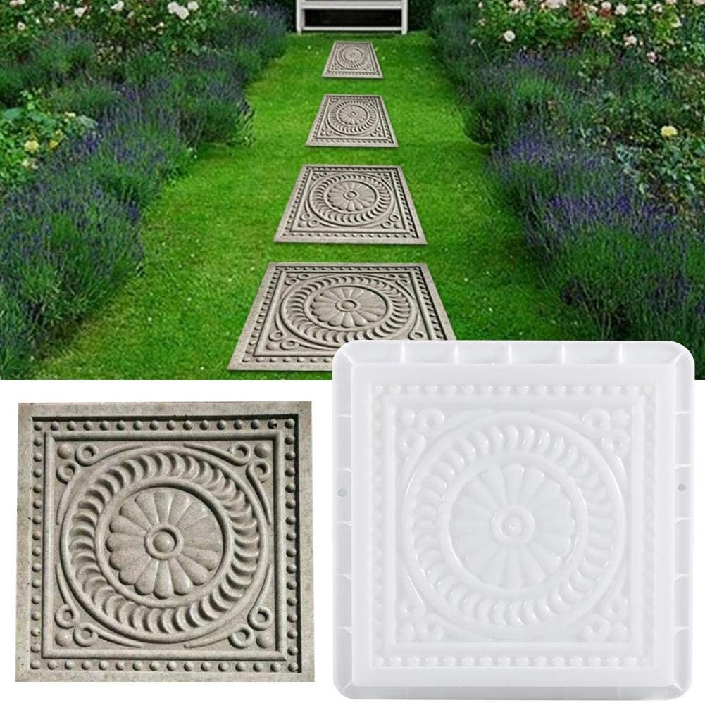 isilky Square Paving Mould,DIY Garden Plastic Concrete Mold Stepping Stone Paver Brick Landscape Pedal Stone Path Mold