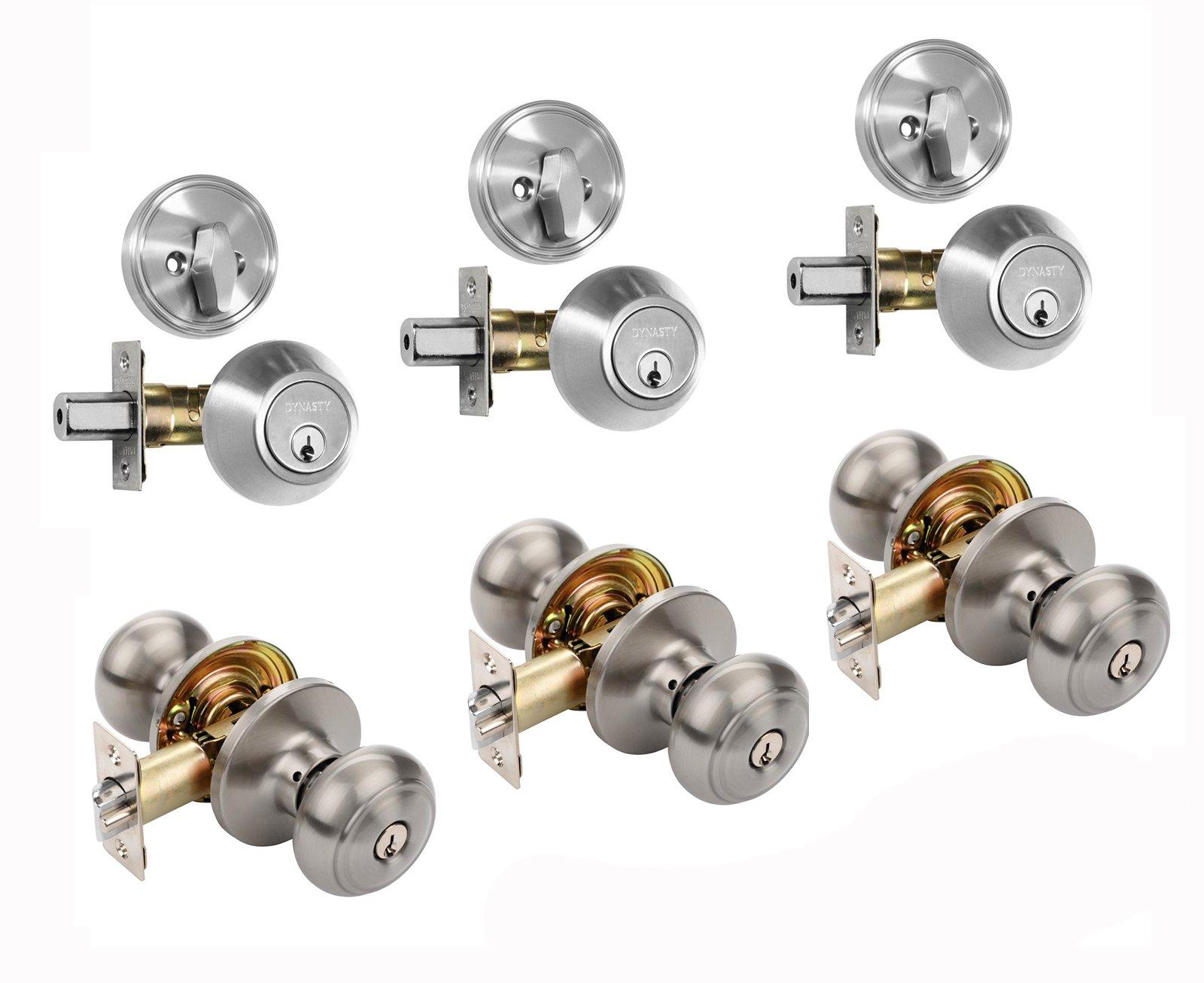 Dynasty Hardware CP-SIE-US15, Sierra Entry Door Knob Lockset and Single Cylinder Deadbolt Combination Set, Satin Nickel (3 Pack) Keyed Alike