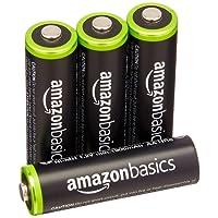 AmazonBasics - Pile Ricaricabili Stilo AA Ni-MH, precaricate, 1000 cicli (tipico 2000 mAh/minimo 1900 mAh), confezione da 4 pezzi. Involucro esterno variabile