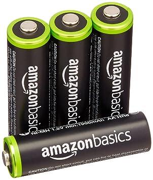 AmazonBasics - Juego de 4 pilas recargables AA Ni-MH (precargadas, 1000 ciclos, 2000 mAh/mínimo 1900 mAh) - La cubierta exterior puede variar