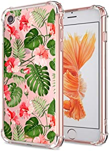 iPhone 7 8 SE 2020 Floral Case, Crystal Clear with Design Cute Tropical Floral and Palm Pattern Bumper Protective Case for Apple iPhone 7 8 SE 2020 Gel Soft TPU Silicone Slim Shockproof Flower Cover