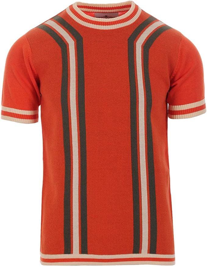 60s 70s Men's Clothing UK | Shirts, Trousers, Shoes Madcap England Modernista Mens Retro 60s 70s Waffle Knit Short Sleeve Knitted Striped T-Shirt Jumper £29.99 AT vintagedancer.com