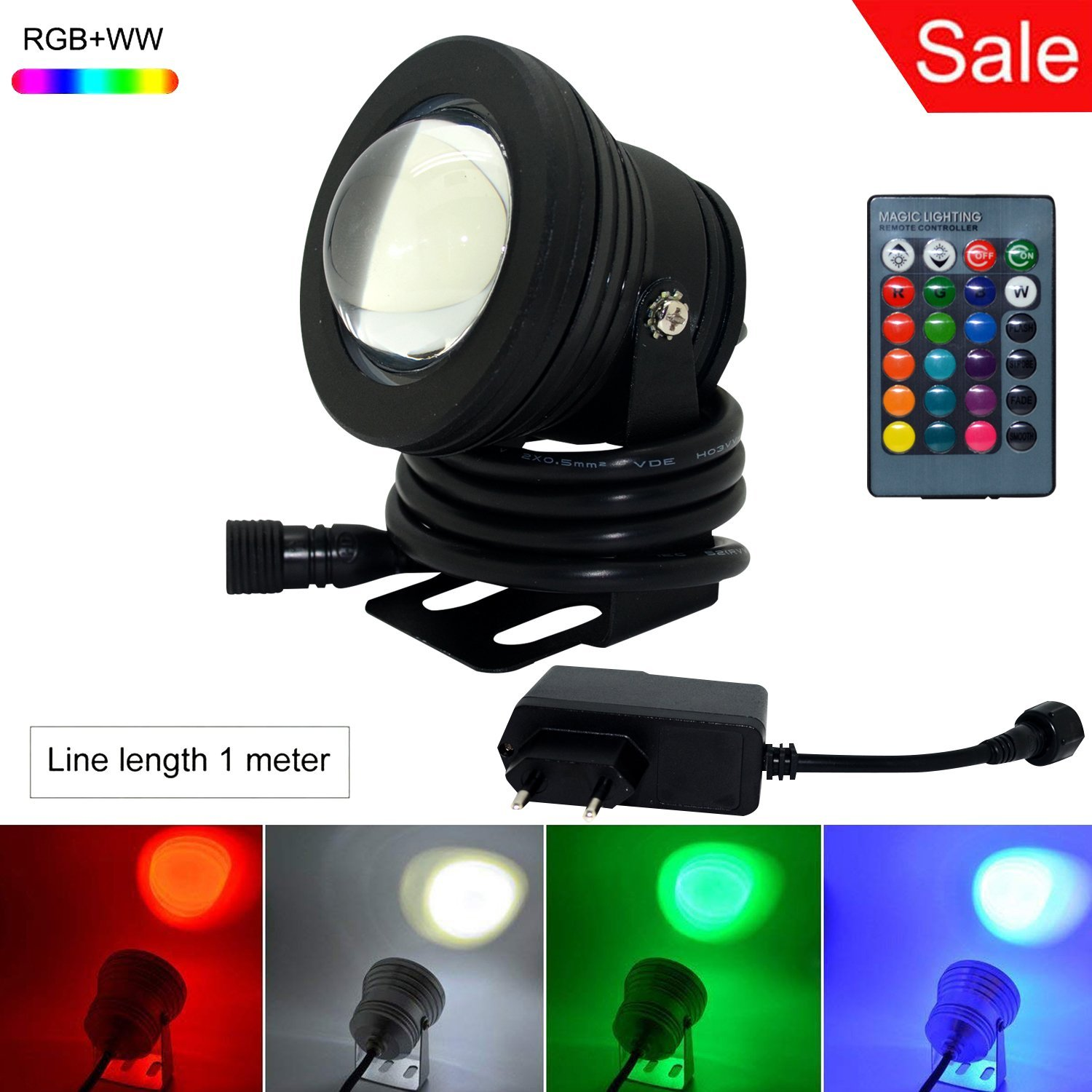 S NMT LED Underwater Flood Light 10W IP68 AC to DC 12V Power Adapter US Plug Waterproof RGBWW Multi-color Changing Landscape Fountain Lamp (Black,1M Cable with US Plug)