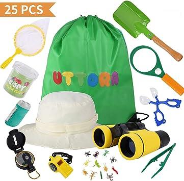 UTTORA Outdoor Explorer Kit Kids Toys, 25 Piezas de Regalo de cumpleaños para niños de 3-12 años de Edad.: Amazon.es: Juguetes y juegos