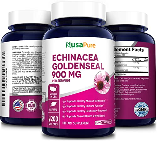Echinacea Goldenseal 900mg 200 Veggie Caps Vegetarian, Non-GMO Gluten Free Supports Healthy Immune Function and Overall Well-Being