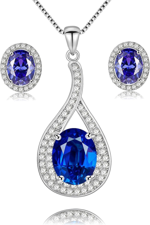 Uloveido 925 Plata esterlina Ovalada Natural Azul topacio Colgante Collar Nacimiento Piedra aretes Set para Mujer FT004