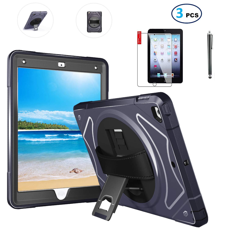[宅送] iPad ケース NQ_00300 高耐久 - 9.7 スクリーンプロテクターとスタイラス付き - iPad - 2018 2017 第6世代 第5世代ケース - レザーハンドストラップ ハードバック 360度回転スタンド 耐衝撃 - A1822 A1823 MR7F2 NQ_00300 ネイビーブルー B07L6TW8WK, I'sキッチン:9c09daab --- a0267596.xsph.ru