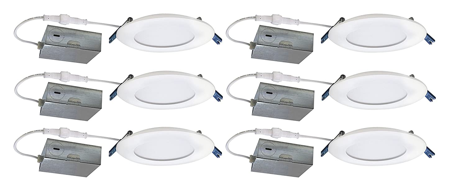 Nadair SL4-900-6WH3K 6 Pack LED 4 Ultra Recessed Slim Panel Light with Junction Box, 12W, 3000K Warm IC Dimmable, Etl and Energy Star Rated 6 4 12W, White
