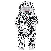 Carters Baby Girls Fleece Hooded Romper Jumpsuit, Black Aztec, 9 Months