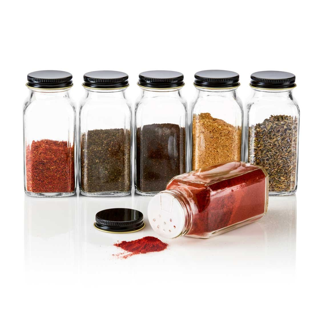 SpiceLuxe 6 Large Square Glass Spice Bottles 6 oz Jars with Simply Organic Style Metal Lids, Shaker Tops