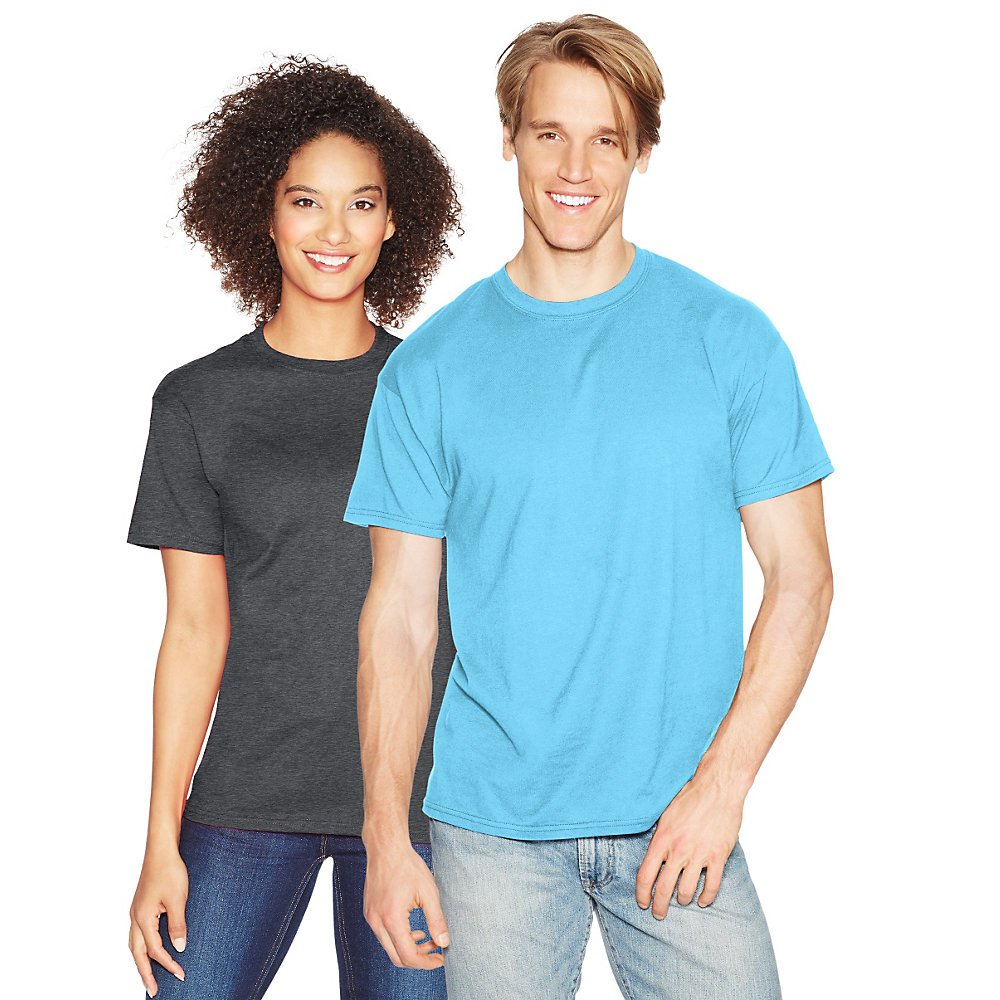 Hanes Men's X-Temp Crewneck Short-Sleeve T-Shirt (2X), Blue Horizon