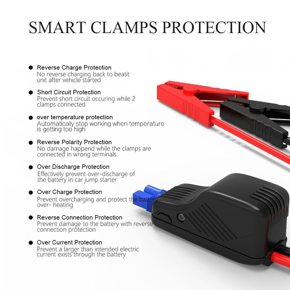 Beatit Bt B9 Portable Car Jump Starter Booster Battery Charger Reverse Polarity Protection Power Bank Vehicle Emergency Kit Compass And Built In Flashlight Batteries