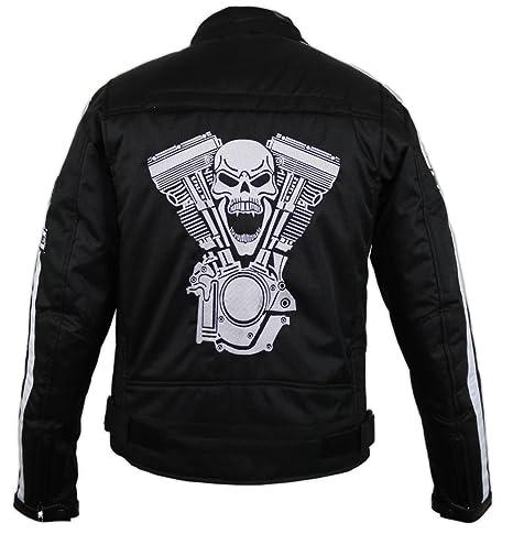 3XL MDM Herren Motorradjacke Motorrad Textil Jacke Biker Schwarz