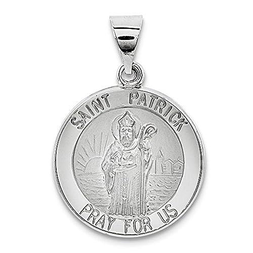 Amazon.com: 14 K oro blanco Medalla de San Patricio: The ...