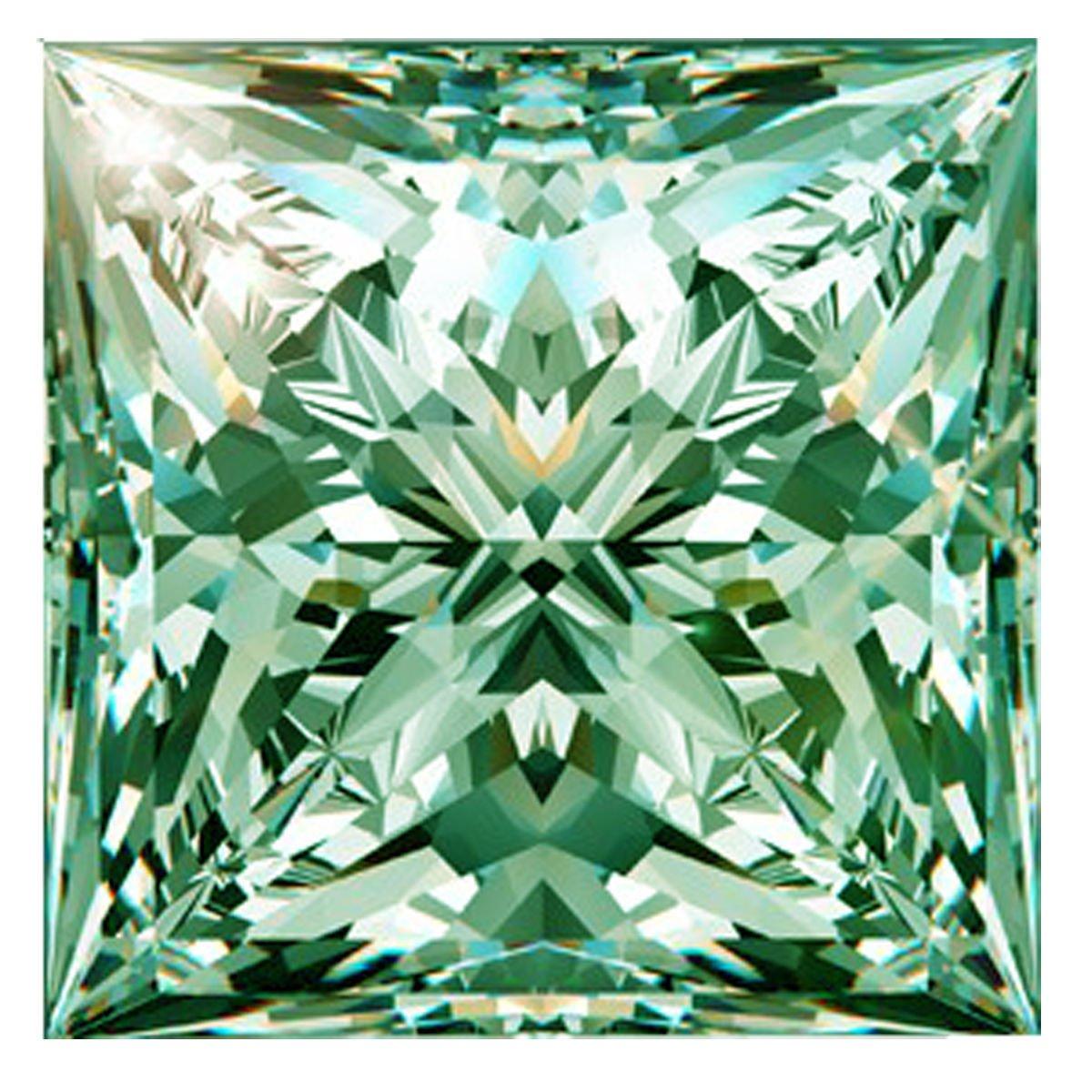 RINGJEWEL 1.66 ct VVS1 Loose Moissanite Princess Cut Use 4 Pendant/Ring Blueish Green Color Stone