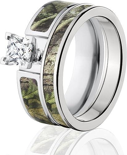 Amazon Com Realtree Camo Bridal Set Camo Wedding Rings Ap Green