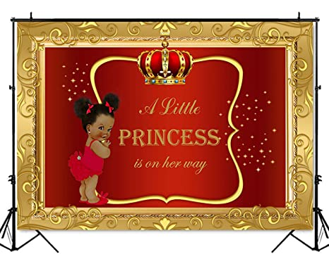 Mehofoto Royal Baby Shower Backdrop Little Girl Princess Red Gold Photography Background 7x5ft Poly Cotton