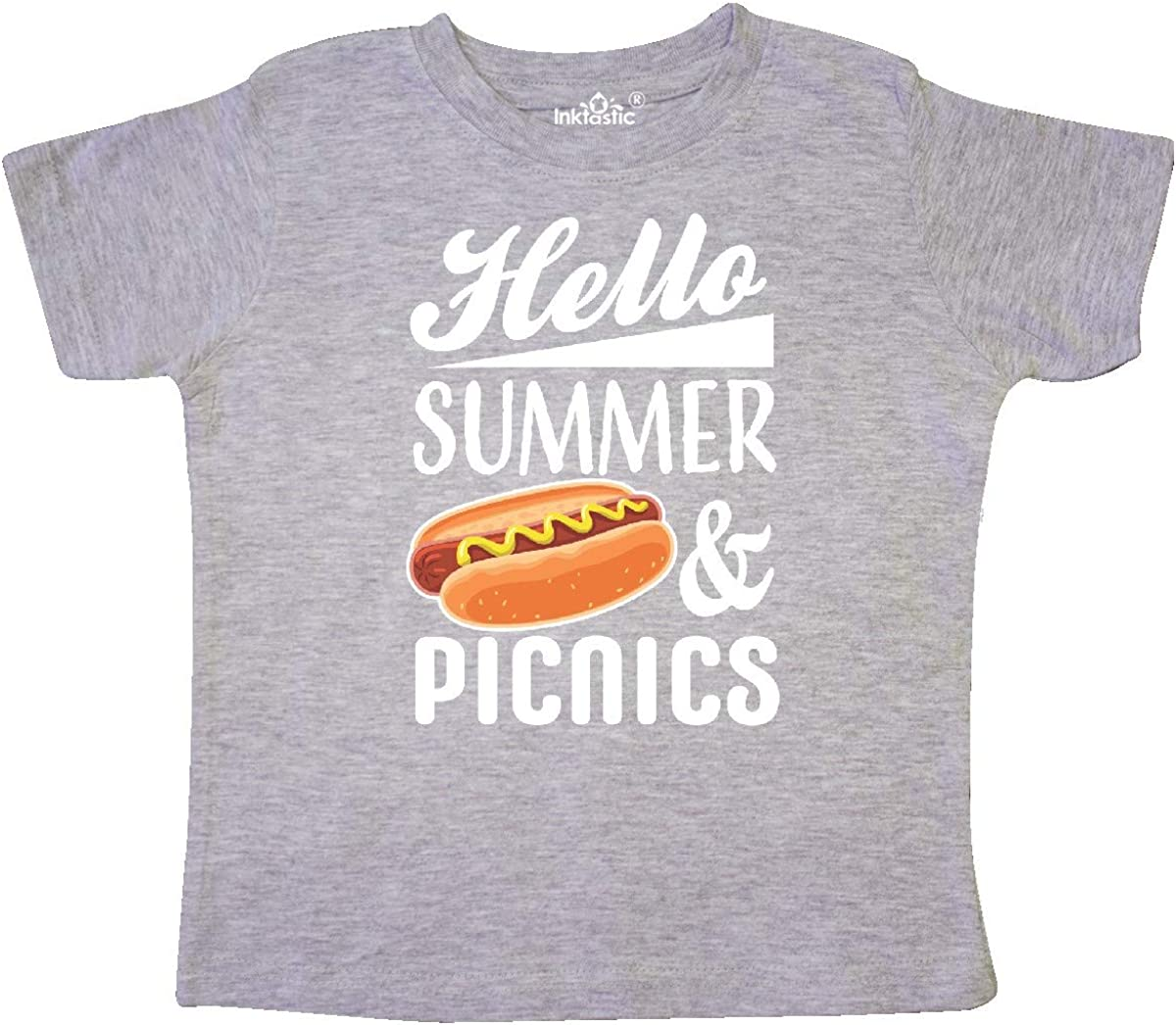 inktastic Hello Summer and Picnics with Hot Dog Toddler T-Shirt