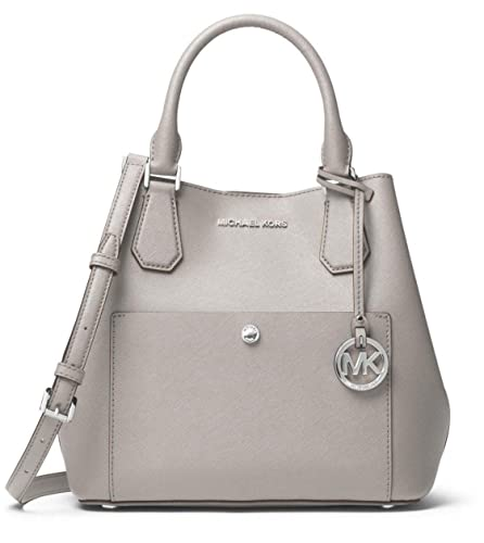 859707d1fbe8 Image Unavailable. Image not available for. Color  MICHAEL Michael Kors  Greenwich Saffiano Leather Satchel in Pearl Grey Black