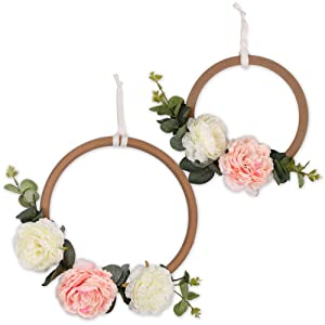 Pink and White Floral Wooden Ring Nursery Wall Decor - Farmhouse Collection by The Peanut Shell