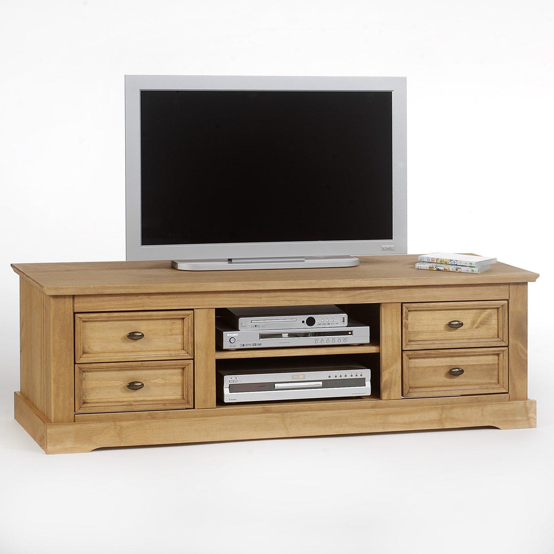 Meuble Tv Kent En Pin Finition Cir E 4 Tiroirs 2 Niches Amazon  # Meuble Tv Pin Massif Cire