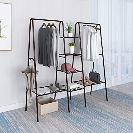 BOFENG Metal Garment Rack Heavy Duty Indoor Bedroom Clothing Hanger with  Top Rod and Lower Storage Shelf Clothes Rack with 1-Tier Shelves Bronze