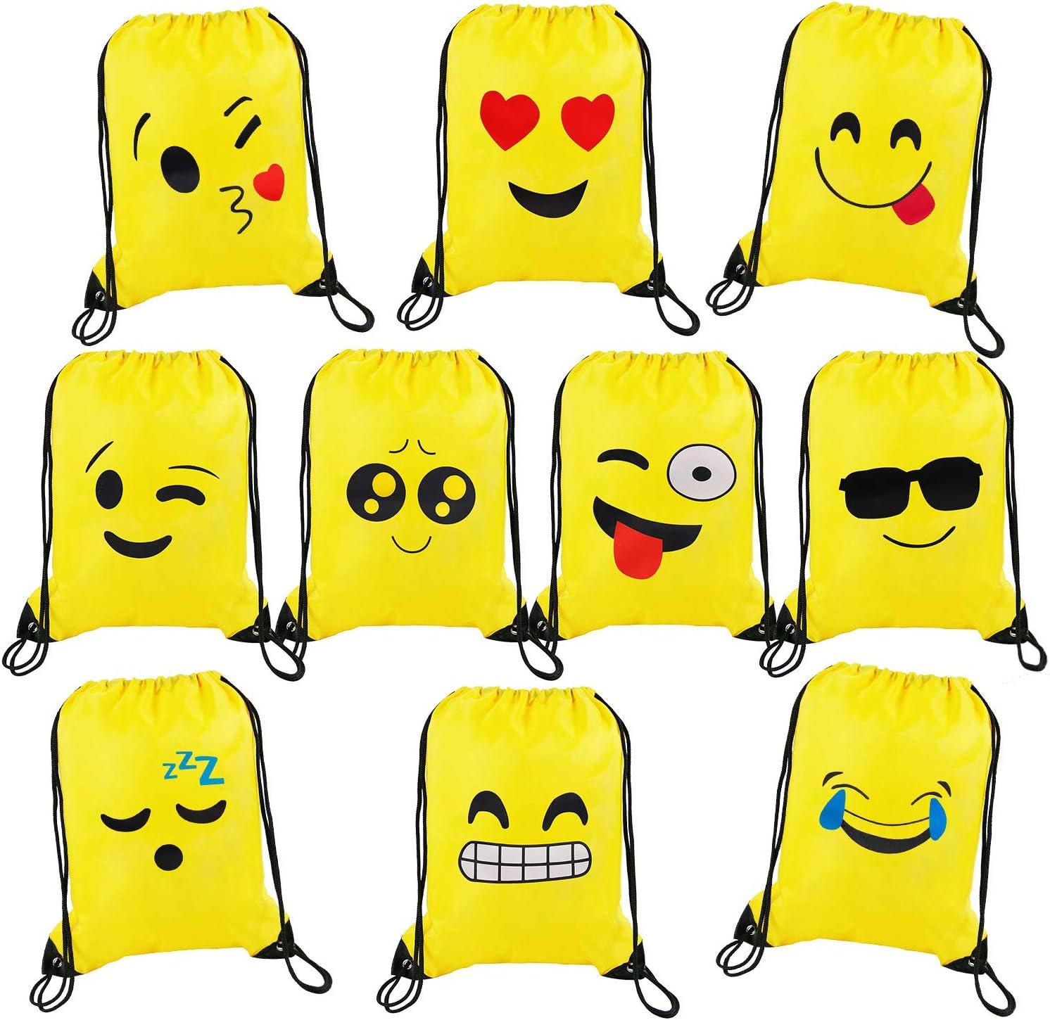 Bolsas de Cuerdas Emoji Dibujos Animados Mochila Bolsas PE para cumpleaños niños y Adultos la Fiesta Favorece Rellenos Bolsa 10 Piezas