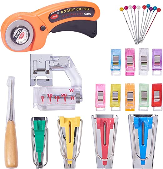 Sewing Bias Tape Maker Tool Kit Set 11 in 1 Single//Double Fold 6MM//12MM//18MM//25MM 4 Sizes DIY Fabric Bias Tape Making Tools with Tape Binding Presser Foot Wonder Clips for Quilt Binding