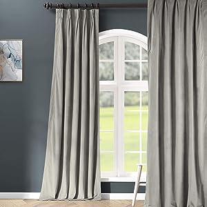 HPD Half Price Drapes VPCH-145002-96-FP Signature Pleated Blackout Velvet Curtain (1 Panel), 25 X 96, Silver Grey