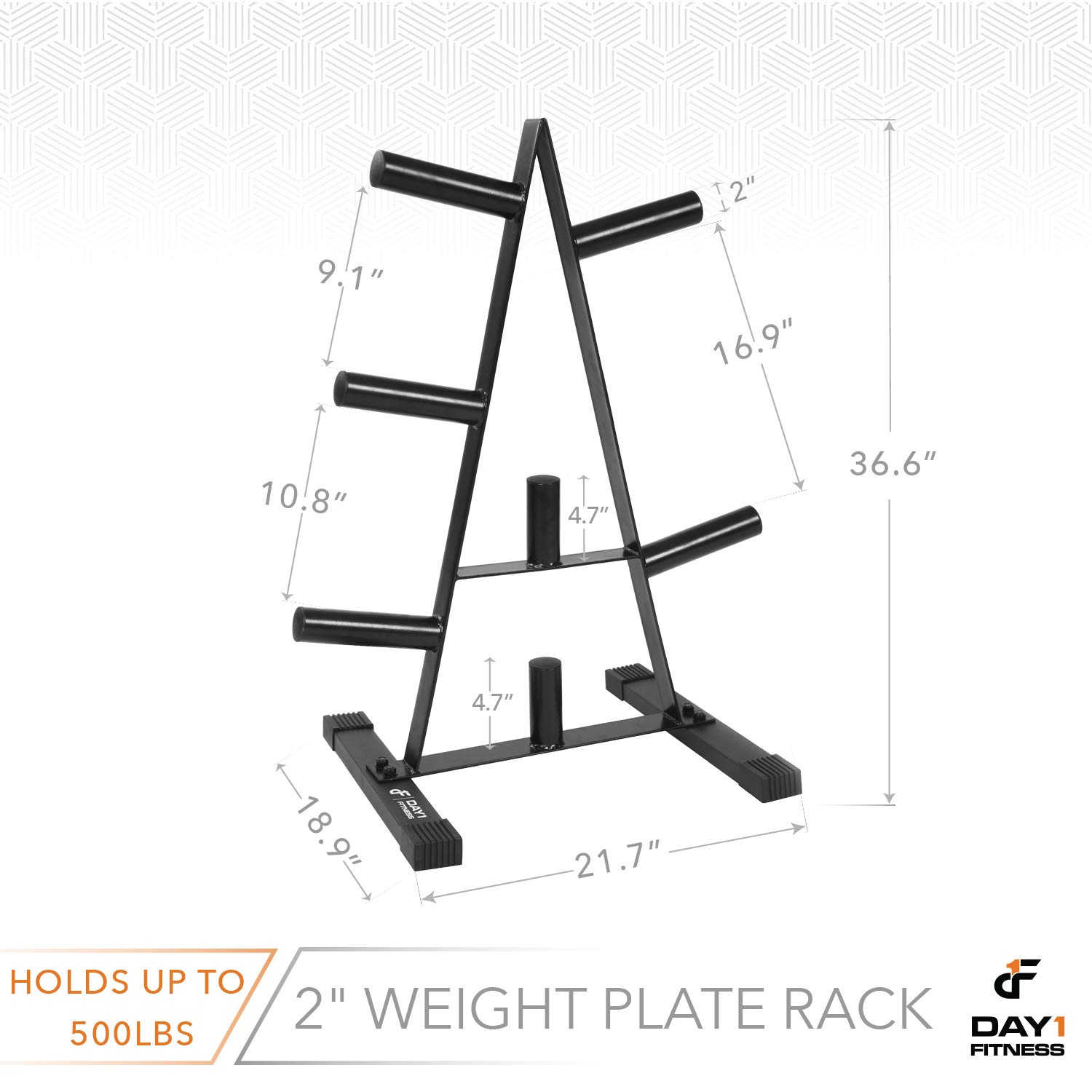 Olympic Weight Plate Rack, Holds up to 500lb of 2'' Weights by D1F - Black Weight Holder Tree with 7 Branches for Stacking and Storing High Capacity Weights- Heavy-Duty, Durable Triangle Plate Racks by Day 1 Fitness (Image #2)