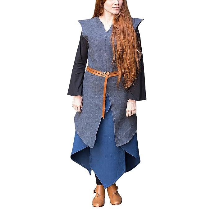 Burgschneider Túnica Medieval para Mujer Eryn Gris algodón - M