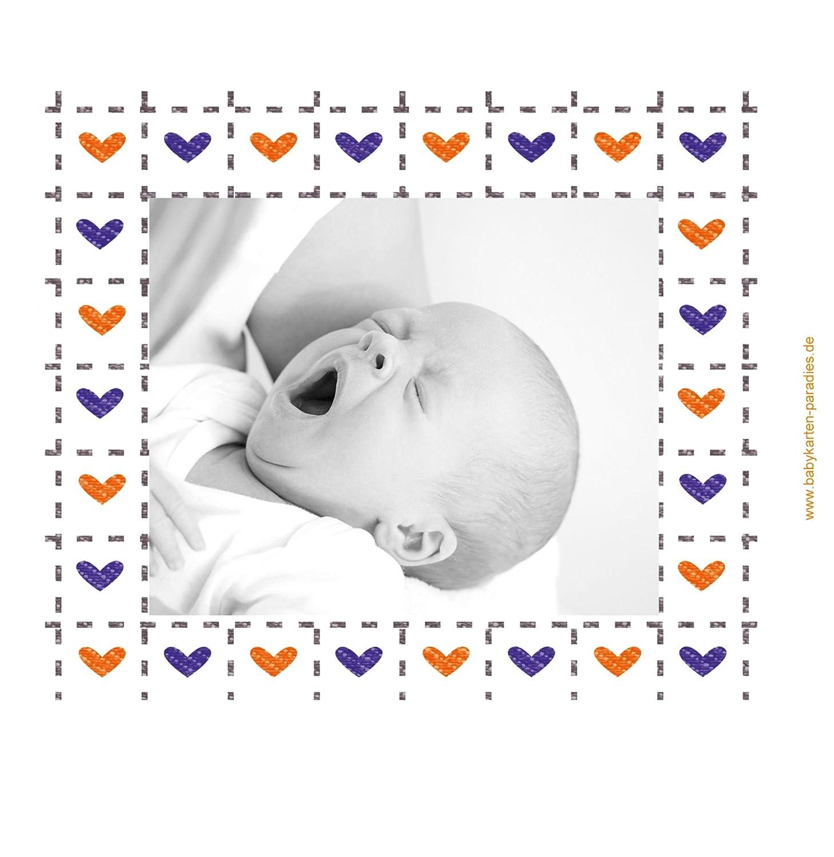 Kartenparadies Danksagung für Geburt Baby Dankeskarte Herzrahmen, Herzrahmen, Herzrahmen, hochwertige Danksagungskarte Baby inklusive Umschläge   10 Karten - (Format  145x145 mm) Farbe  Lila B01MYE52LF | Bekannt für seine hervorragende Qualität  | eine breite Palette  2fbead