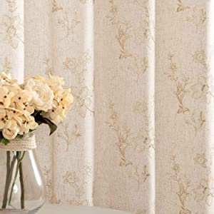 Ivory Window Curtains Linen Textured Floral Embroidered Design Living Room Curtain Drapes Bedroom Grommet Window Treatment Sets 2 Panels 84 inc