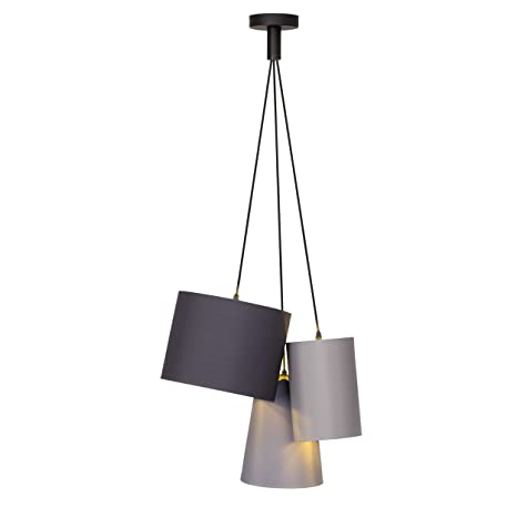 Lampadari A Sospensione Tre Luci.Lampada A Sospensione 3 Luci 3 X E27 Max 40 W Tessuto Metallo Nero Oro