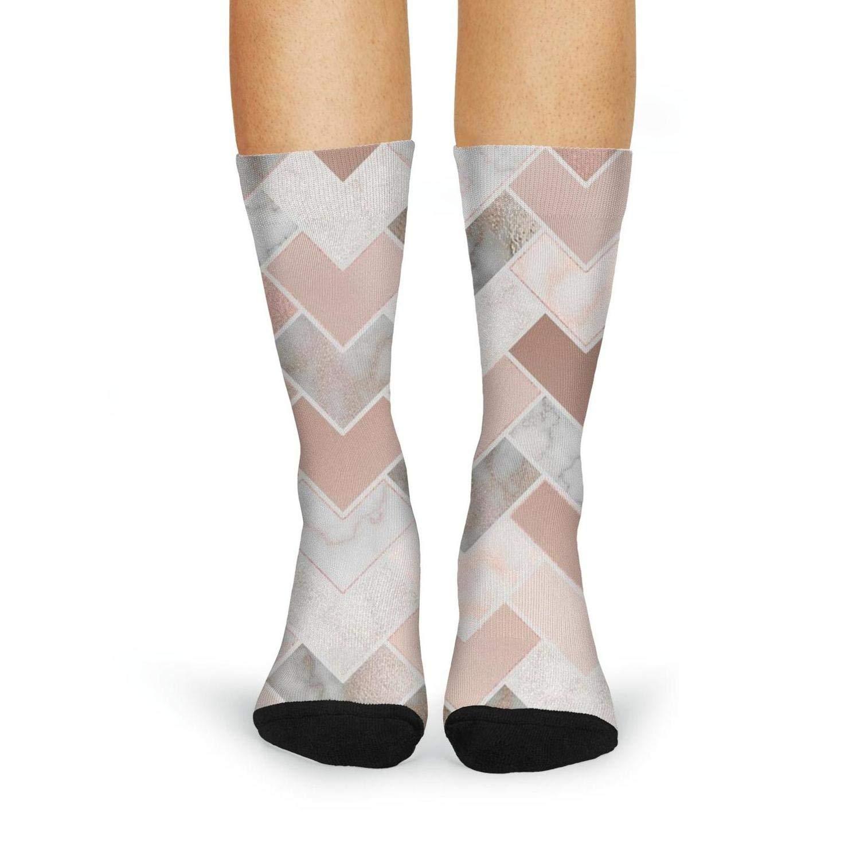 XIdan-die Womens Over-the-Calf Tube Socks Rose Gold Marble Geometric Moisture Wicking Casual Socks