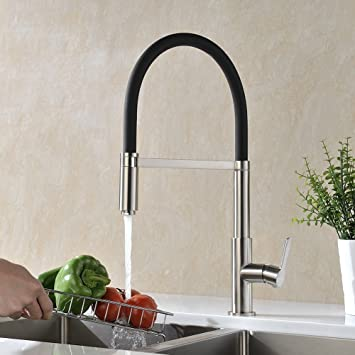 GICASA Contemporary Single Handle Black Silicone Kitchen Sink Faucet,  Stainless Steel Lead Free Swivel Spout