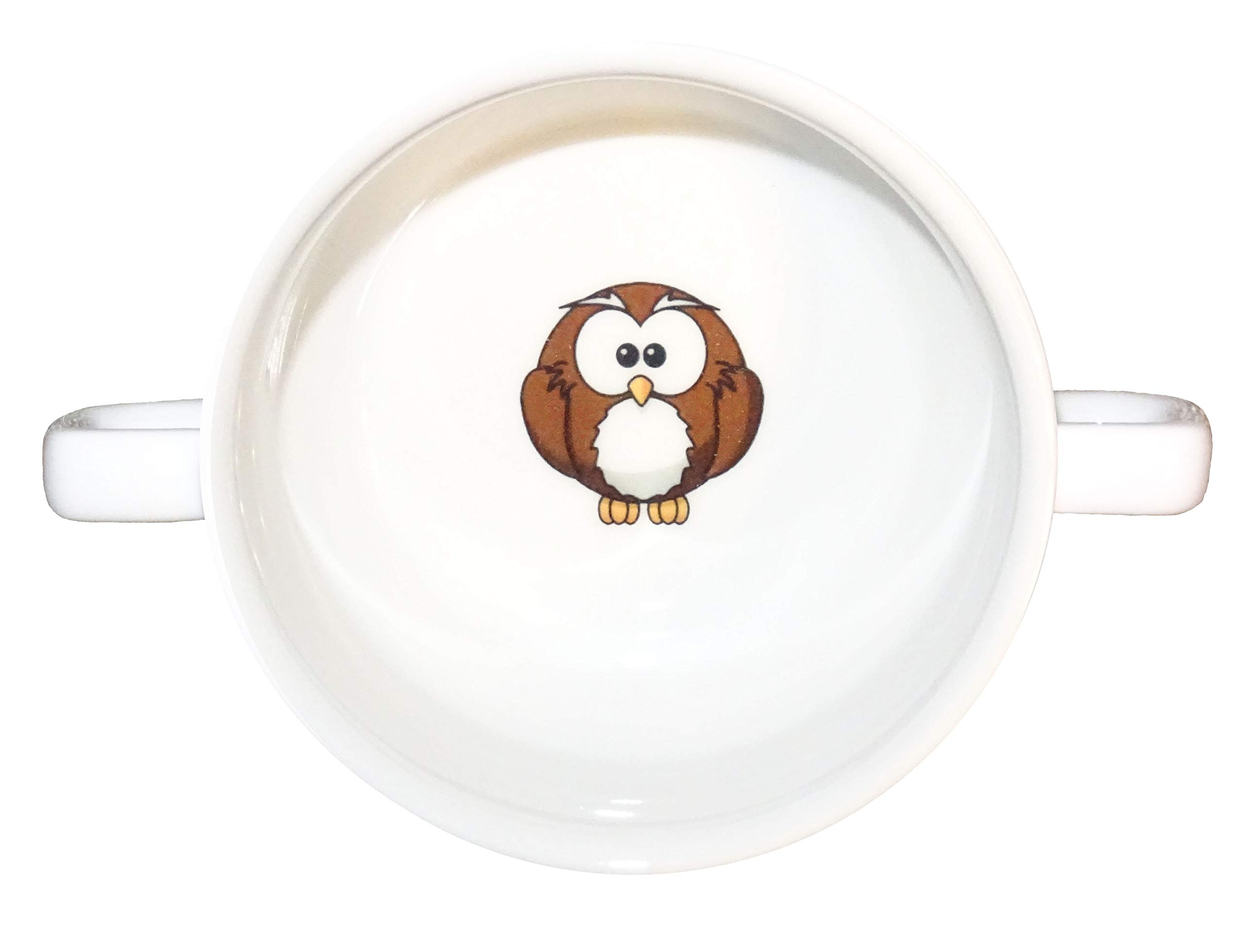 Soup Bowl 12, 1 pcs, owl family soup bowl small baby child kids , Bottom, hidden message, secret message, animal , bird , cartoon , Cartoon Animals, Good Cartoon Drawings, KIDS, owl , owls, porcelain