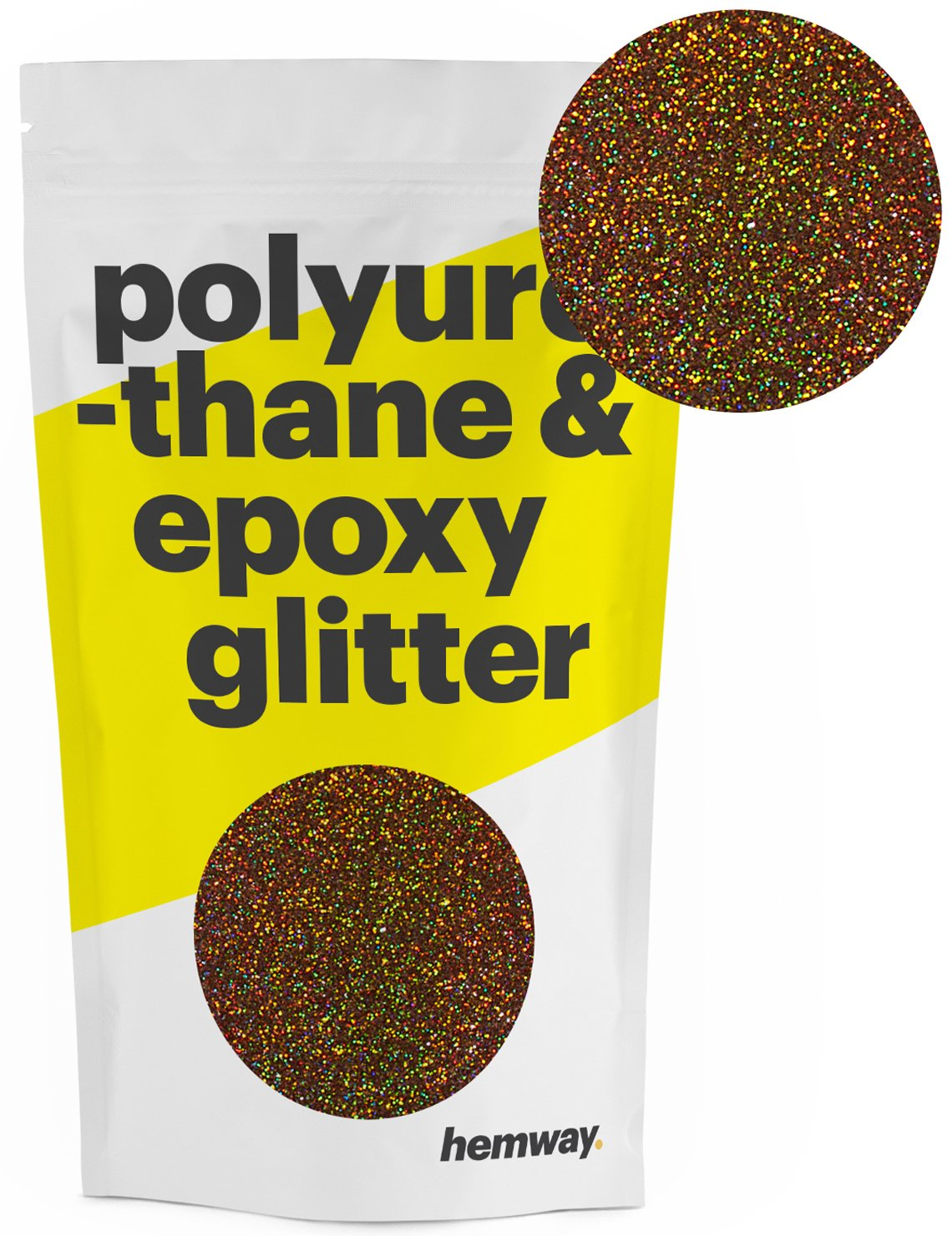 Hemway Metallic Glitter Floor Crystals for Epoxy Resin Flooring (500g) Domestic, Commercial, Industrial - Garage, Basement - Can be used with Internal & External (Bronze Holographic)