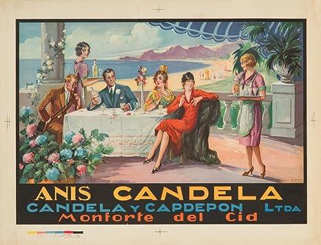 Anis Candela Vintage Póster (artista: pines) España C. 1924 (60 x 80 manta de chenilla, hilo): Amazon.es: Hogar