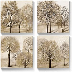 Talesay Tree Wall Art Canvas Tan Prints Farmhouse Autumn Forest Picture Artwork Natural Scenery Painting Fall Landscape Home Wall Decor for Living Room Bedroom Bathroom 12x12 Inch, 4 Panels