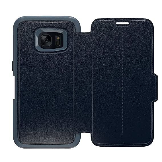 best service c982a 0fe7f OtterBox STRADA SERIES Leather Wallet Case for Samsung Galaxy S7 - Retail  Packaging - TEMPEST NIGHT (TEMPEST BLUE/NAVY BLUE LEATHER)