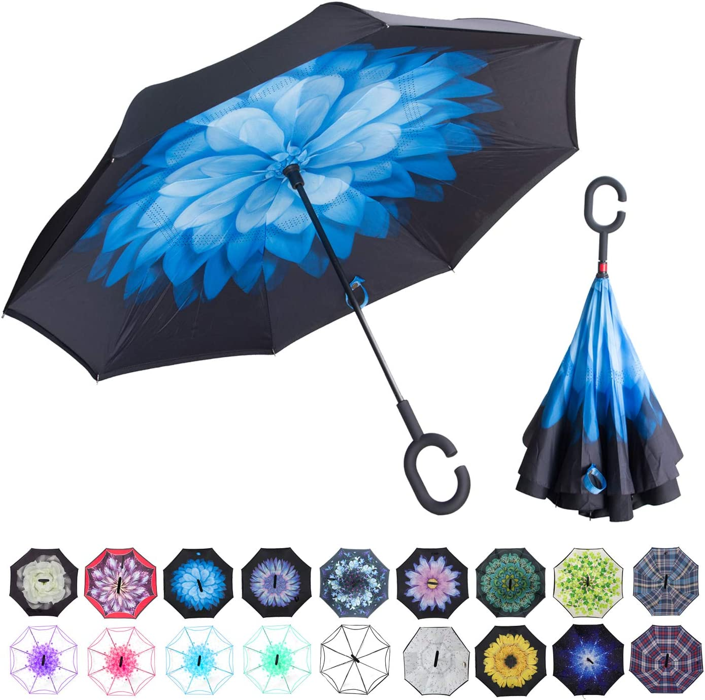 Inverted Umbrella with Funny Honey Badger Inspired Print Car Reverse Folding Umbrella Windproof UV Protection with C-Shaped Handle