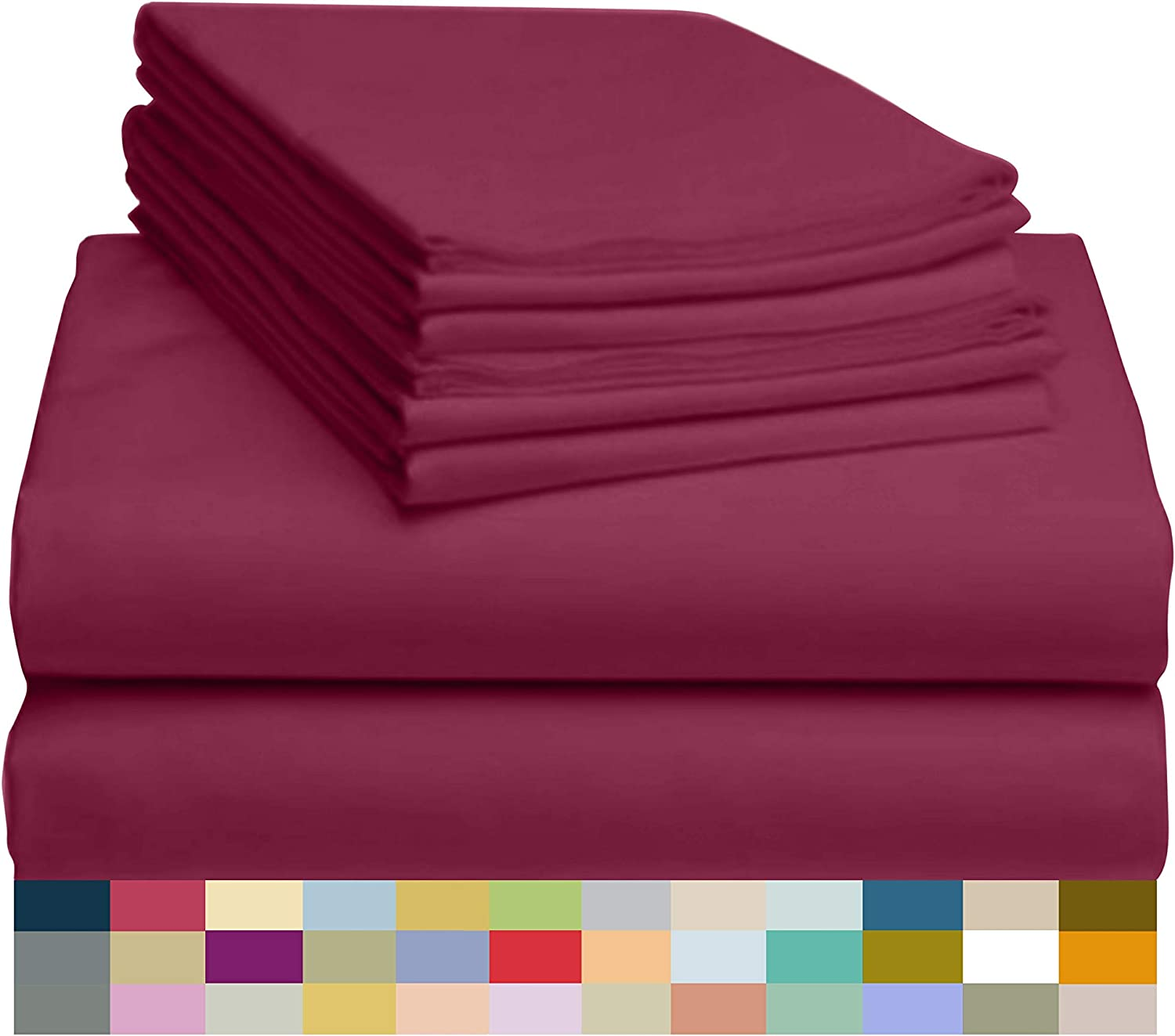 "LuxClub 6 PC Sheet Set Bamboo Sheets Deep Pockets 18"" Eco Friendly Wrinkle Free Sheets Hypoallergenic Anti-Bacteria Machine Washable Hotel Bedding Silky Soft - Burgundy King"