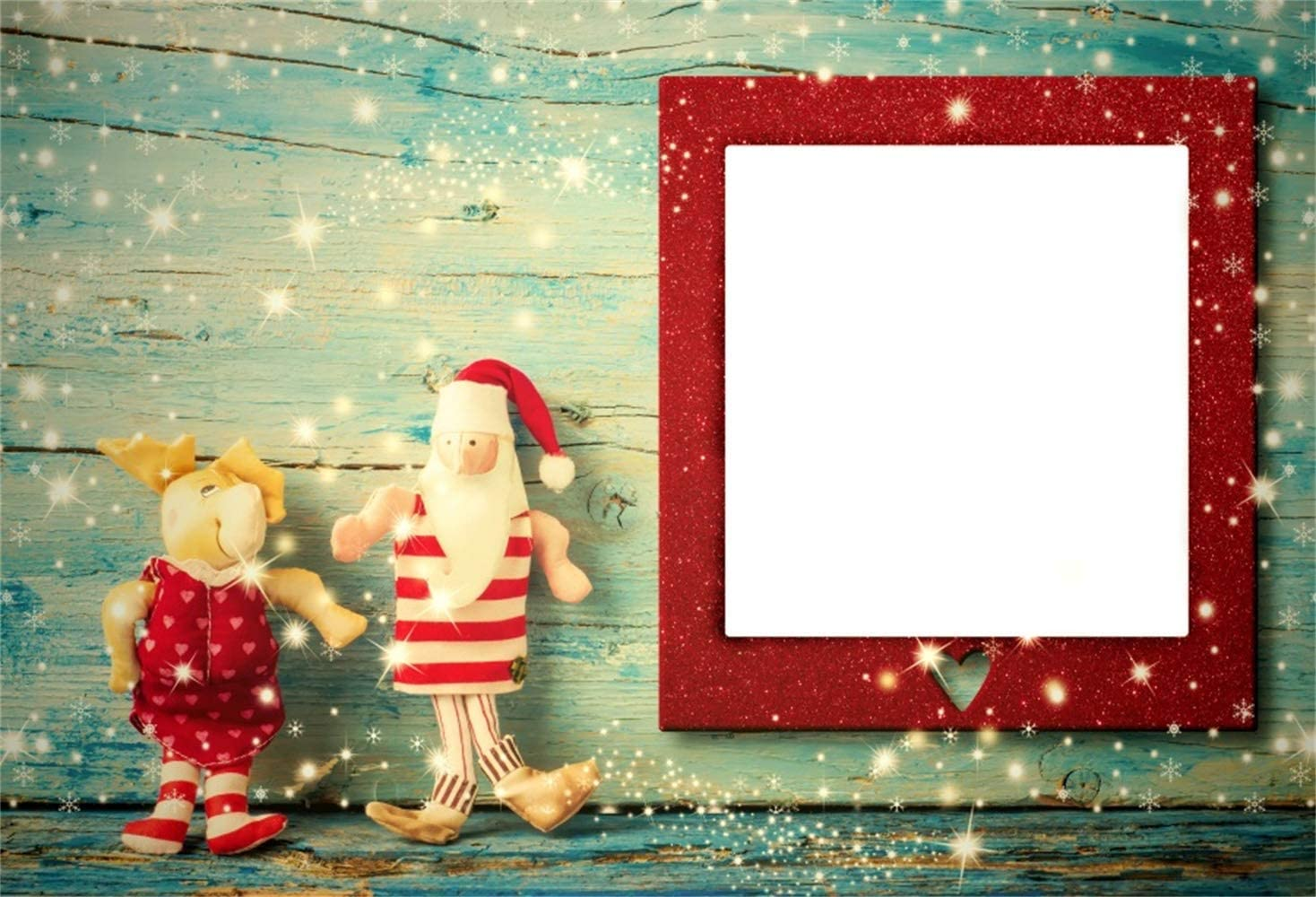 H Polyester Children Christmas Photography Background 7ft W x5ft Xmas Doll Twinkle Stars Pale Green Wood Texture Plank Red Photoframe Xmas Paty Banner Child Kids Portrait Shoot