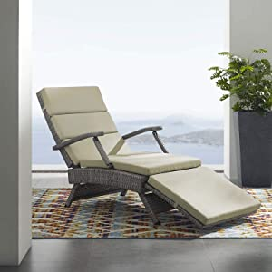 Modway Envisage Outdoor Patio Wicker Rattan Chaise Lounge in Light Gray Beige